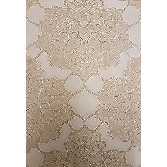 Metallic Gold Damask Wallpaper Heavyweight Italian Shiny Luxury Textured Vinyl