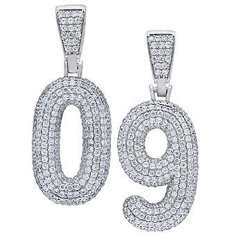 Premium bling 925 sterling silver 38mm pendant numbers 0-9