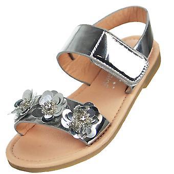 Girls metallic silver flat sandals