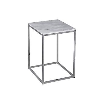 Gillmore White Marble And Silver Metal Contemporary Square Side Table