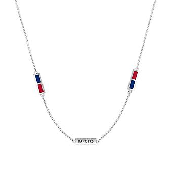 Texas Rangers Sterling Silver Engraved Triple Station Necklace In Blue & Red