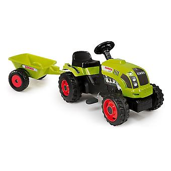 Smoby Kids Pedal Claas Green Tractor And Trailer Childrens Ride On Pedal Toy