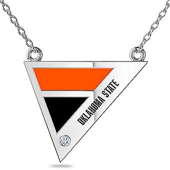 Oklahoma State University Engraved Sterling Silver Diamond Geometric In Necklace Black and Orange