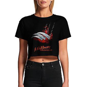 Kvinders et mareridt på Elm Street Blades beskåret sort T-shirt
