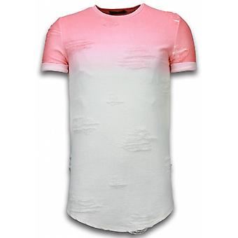 Flare Effect T-shirt - Long Fit -Shirt Dual Colored - Pink