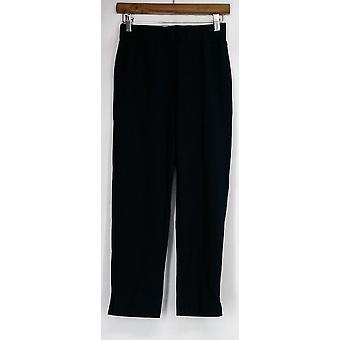 Paula Deen Pants Elastic Waist Slim Leg Cropped Pants Blue Womens A425954
