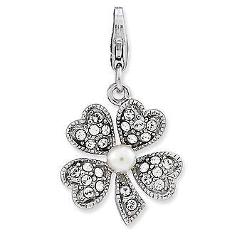 925 plata esterlina Rhodium plateado langosta de lujo cierre de agua dulce cultivada perla flor con cierre de langosta encanto Penda