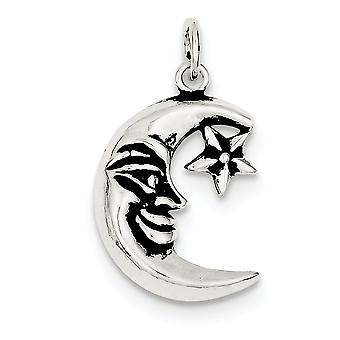 925 Sterling Silver Solid Open back Celestial Moon Charm Pendant Necklace Jewelry Gifts for Women