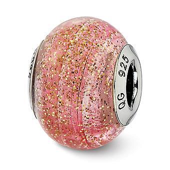 925 prata esterlina polido Antique Finish italiano vidro de Murano reflexões italiano rosa com ouro glitter vidro bead C