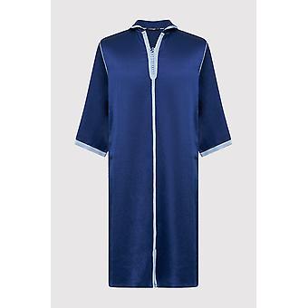 Djellaba bakir boy's contrast trim cropped sleeve hooded satin robe thobe in navy blue (2-12yrs)