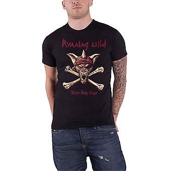 Running Wild T Shirt Under Jolly Roger Crossbones Band Logo Official Mens Black