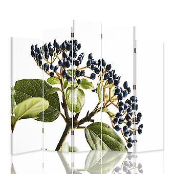 Dekorative Rand-/Freiraumteiler, 5 Paneele, Doppelseitig, 360 ° Drehbare Leinwand, Heidelbeere