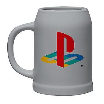 Sony Playstation Bierkrug Classic Logo 0,6 l grau, aus Keramik, in attraktiver Geschenkbox
