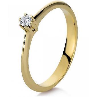 Diamantring ring-14K 585 gul guld-0,07 CT.