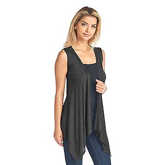 Sharon's Outlet Women's Short Solid Sleeveless Cardigan