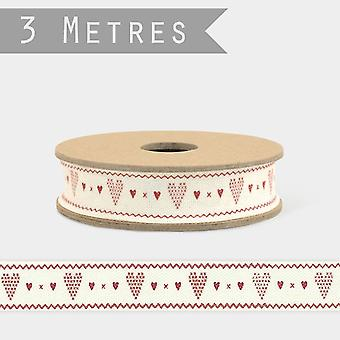 East of India Red Hearts and Cream Ribbon / Gift Wrap 3m