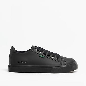 Kickers Tovni Lacer Boys Leather Trainers Black
