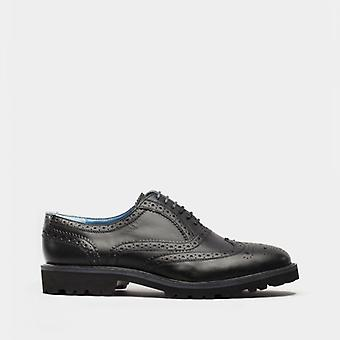 Oswin Hyde Boston Mens Leather Oxford Brogue Shoes Black