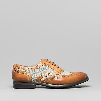 Mister Carlo Monty Mens Leather Brogue Lace Ups Tan/tweed