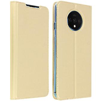 Slim flip wallet case, Business series for Oneplus 7T - Gold