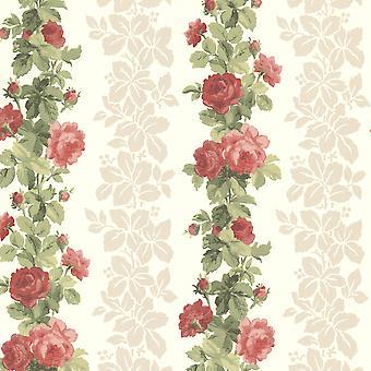 Claremont Fine Decor Rose Stripe Wallpaper Blanco Floral