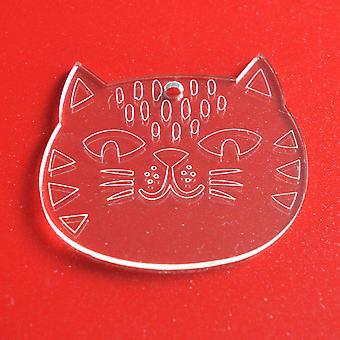 6pk Cute Amimal Cat Clear Acrylic Christmas Decorations