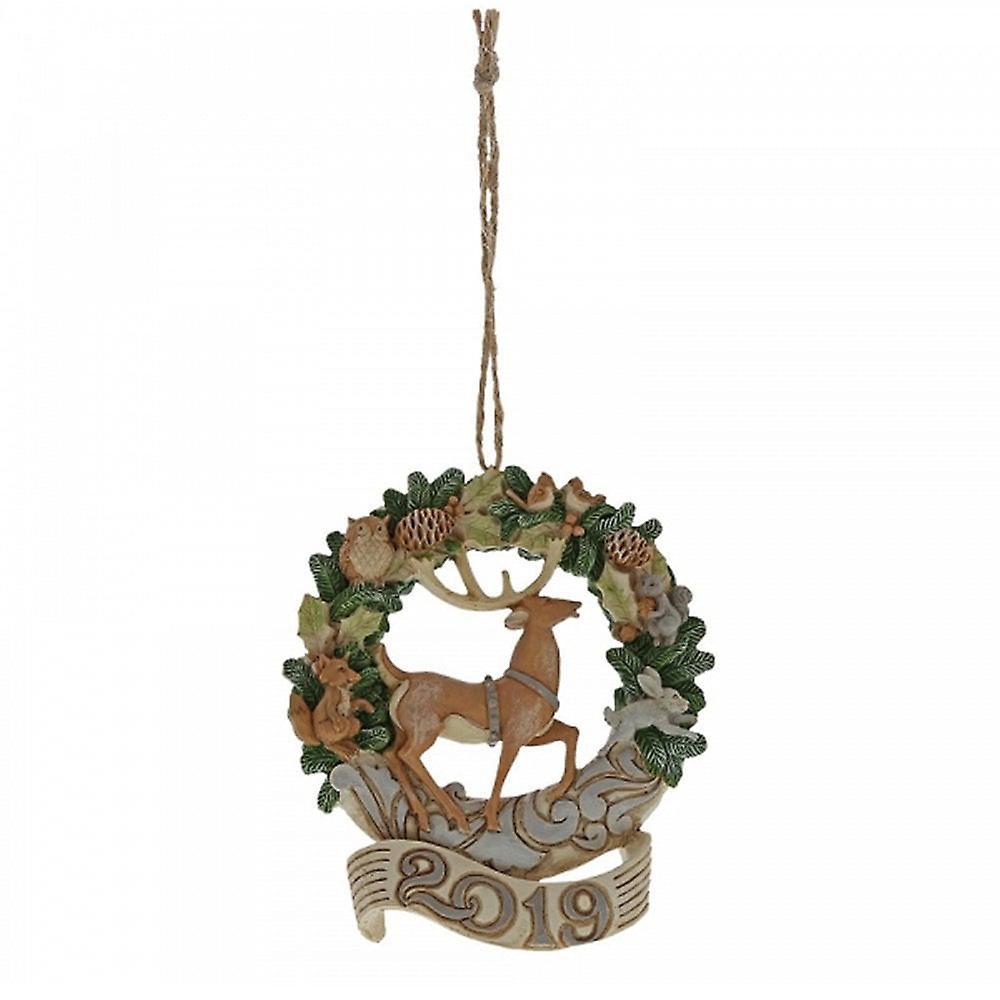 Jim Shore Heartwood Creek White Woodland Wreath 2019 Hanging Ornament