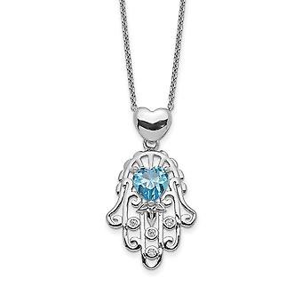 925 Sterling Silver Blue et Clear CZ Cubic Zirconia Simulated Diamond Hamsa Necklace 17.5 Inch Jewelry Gifts for Women
