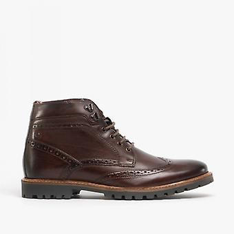 Base London Bower Mens Leather Brogue Ankle Boots Washed Brown