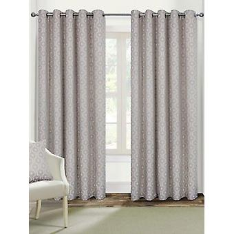 Belle Maison Lined Eyelet Curtains, Milano Range, 46x54 Natural