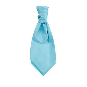 Dobell Mens Baby Blue Cravat Dupion Satin-Feel Pre-Tied