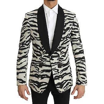 Dolce & Gabbana Black White Zebra Silk Blazer