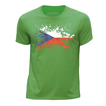 STUFF4 Boy's Round Neck T-Shirt/Czech Flag Splat/Green