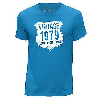 STUFF4 Men's Round Neck T-Shirt/ Vintage Born In 1979/Blue