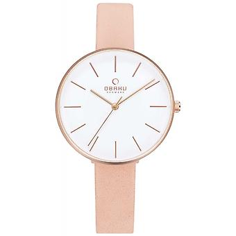 Obaku Mynte Nude Women's Pink Strap Wristwatch V211LXVIRX