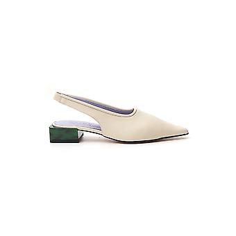 Ganni S1081135 Women's White Leather Sandals