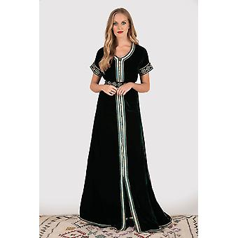 Lebssa lorie short sleeve embroidered occasion wear maxi dress and belt in emerald green