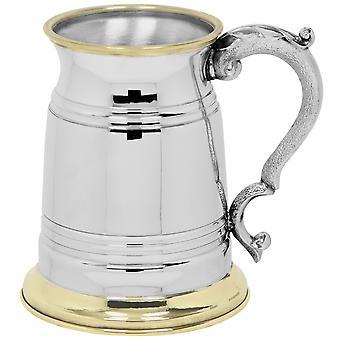 Cumbriai sárgaréz ajak & Base Pewter Tankard-1 pint