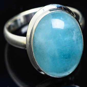 Natural Aquamarine Ring Size 13 (925 Sterling Silver)  - Handmade Boho Vintage Jewelry RING3950