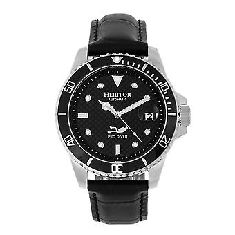 Heritor Automatic Lucius Leather-Band Watch w/Date - Silver/Black