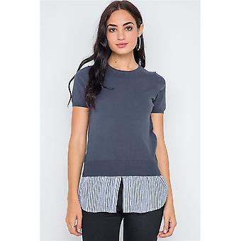 Short sleeve combo stripe sweater