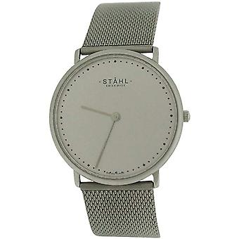Stahl Gents Analogue Silvertone Dial Stainless Steel Mesh Strap Watch ST62341