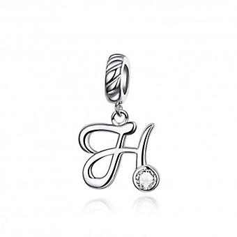 Sterling Silver Pendant Charm Letter H - 6117