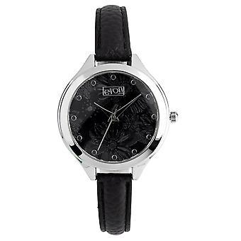 Eton Fashion Watch, Mirror Etched Floral Print Dial, Chrome Finish 3267LM-BK