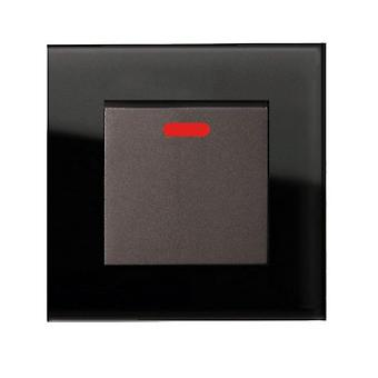 I LumoS AS Luxury Black Crystal Glass Single Switched 45A Cooker Switch