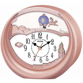 Rhythm 7719/18 table clock quartz with pendulum pink Rosé gold colors