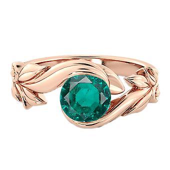 1.00 CT Smaragd Ring 14K Rose Gold Blume Blätter Blatt