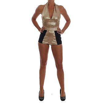 Dolce & Gabbana Gold Silk Stretch Romper Body -- TSH1839792
