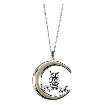 Orton West Owl and Moon Pendant - Silver