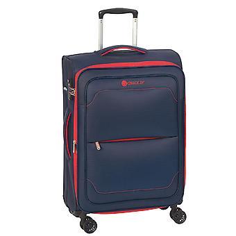 Controleren. IN Monaco Trolley L, 4 rollen, 77 cm, 117 L, blauw-rood